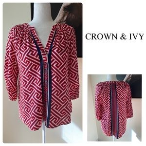 Crown & Ivy Top Blouse Womens Size M Geometric